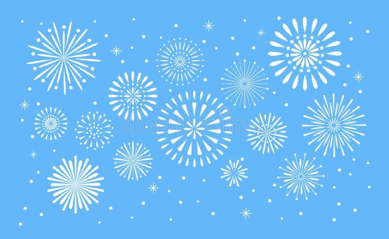 Fireworks explosion. Celebration fuego fire or firework vector holiday concept illustration background. Fireworks explosion. Celebration fuego fire or firework stock illustration