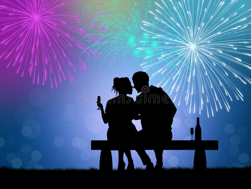 Fireworks explosion for the New Year royalty free illustration