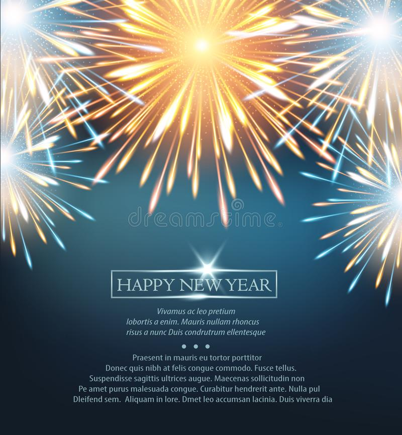 Fireworks explosions blue orange on a greeting card to the Happy New Year vector illustration