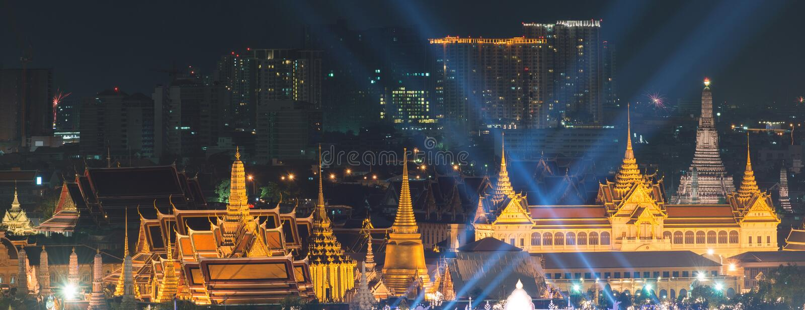 Fireworks on Father`s day at Emerald Buddha, Bangkok, Thailand royalty free stock photos