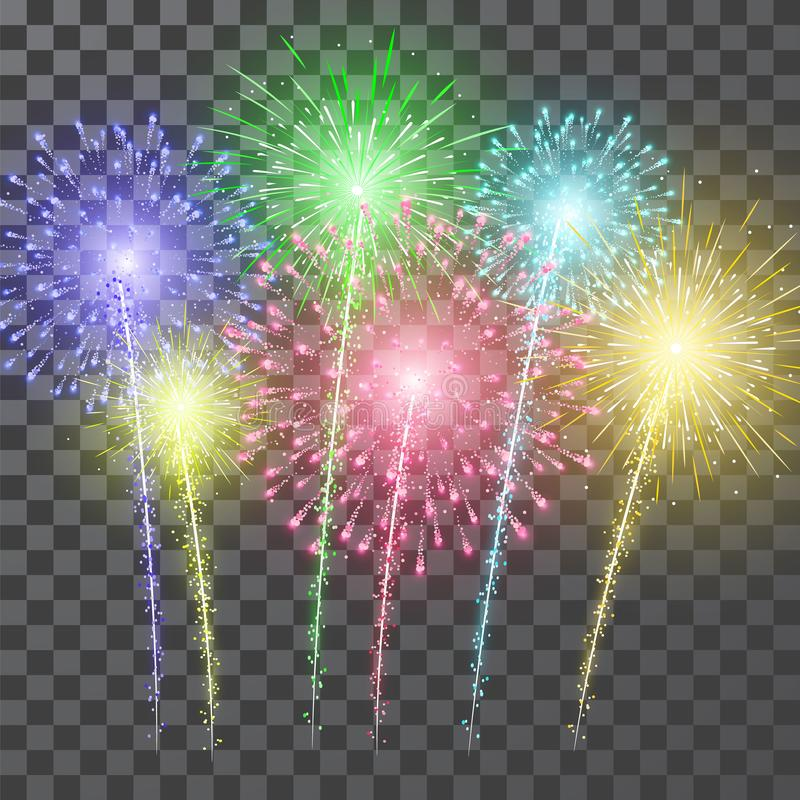 Fireworks. Festival colorful firework. Vector llustration on blue background.  royalty free illustration