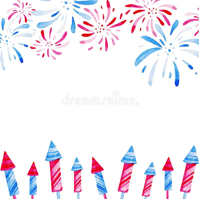 Fireworks festival Frame. Watercolor illustration for holidays, 4th of July, United Stated independence day. Design for. Fireworks festival. Watercolor pattern royalty free illustration