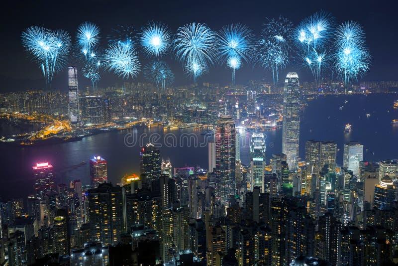 Fireworks Festival over Hong Kong city at night royalty free stock photos
