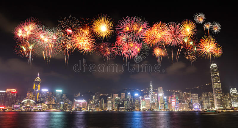 Fireworks Festival over Hong Kong city royalty free stock images