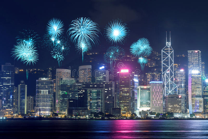 Fireworks Festival over Hong Kong city stock photo