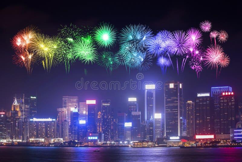 Fireworks Festival over Hong Kong city royalty free stock photos
