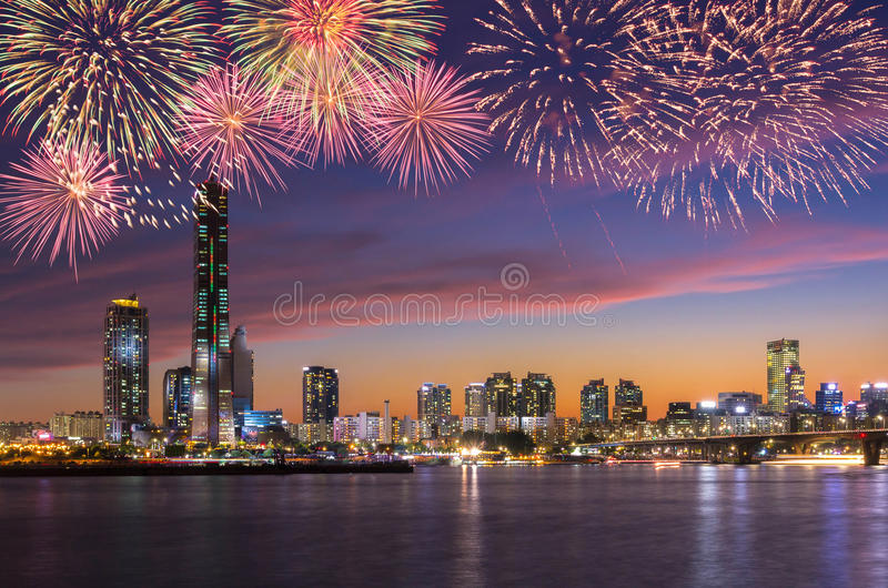 Fireworks Festival and Seoul City in Twilight royalty free stock photos