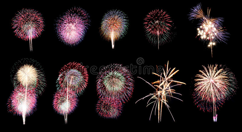 Fireworks or firecracker in ten different. Variety of colors Fireworks or firecracker in ten different royalty free stock photography