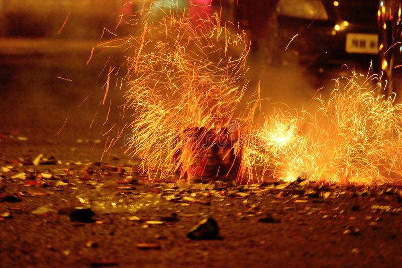 Fireworks or firecrackers during Diwali or Christmas festival royalty free stock photos