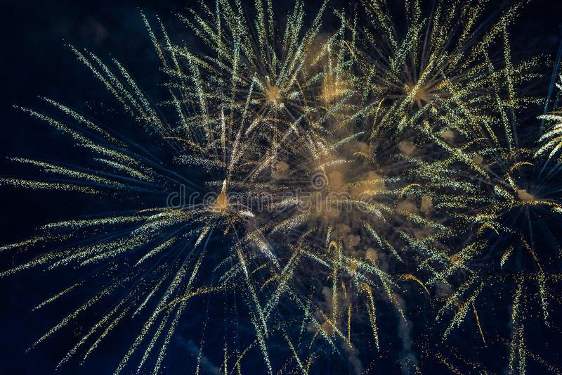 Fireworks. In night sky.  bursting stock photos