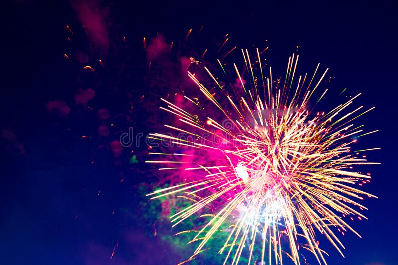 Fireworks Five - Five Fireworks Blast at 4th of July celebration in the United States royalty free stock photography