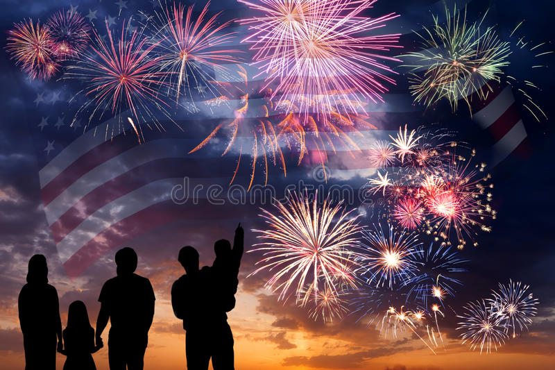 Fireworks and flag of America stock image