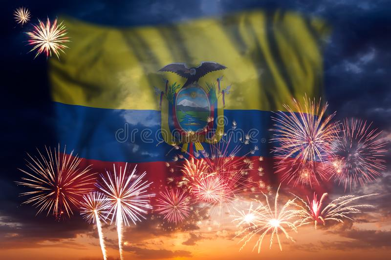 Fireworks and flag of Ecuador. Holiday sky with fireworks and flag of Ecuador, independence day royalty free stock images