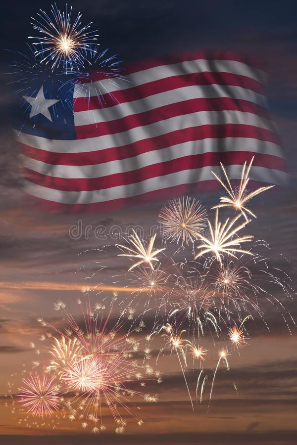 Fireworks and flag of Liberia stock images