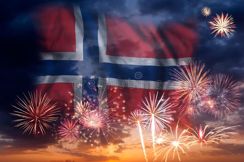 Fireworks and flag of Norway stock photography