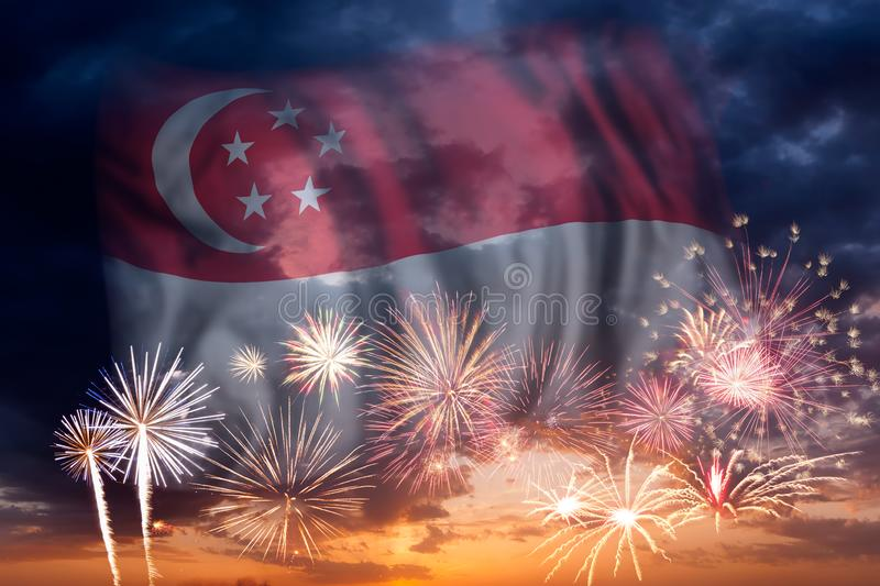 Fireworks and flag of Singapore vector illustration