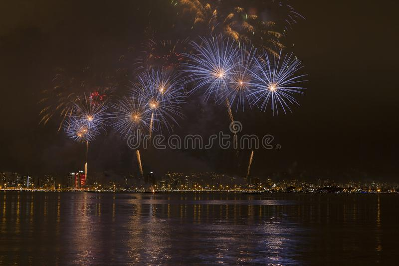Fireworks in Florianopolis. Fireworks in celebration new years in Florianopolis Santa Catarina royalty free stock images