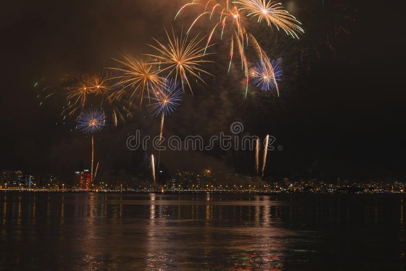 Fireworks in Florianopolis. Fireworks in celebration new years in Florianopolis Santa Catarina stock photography
