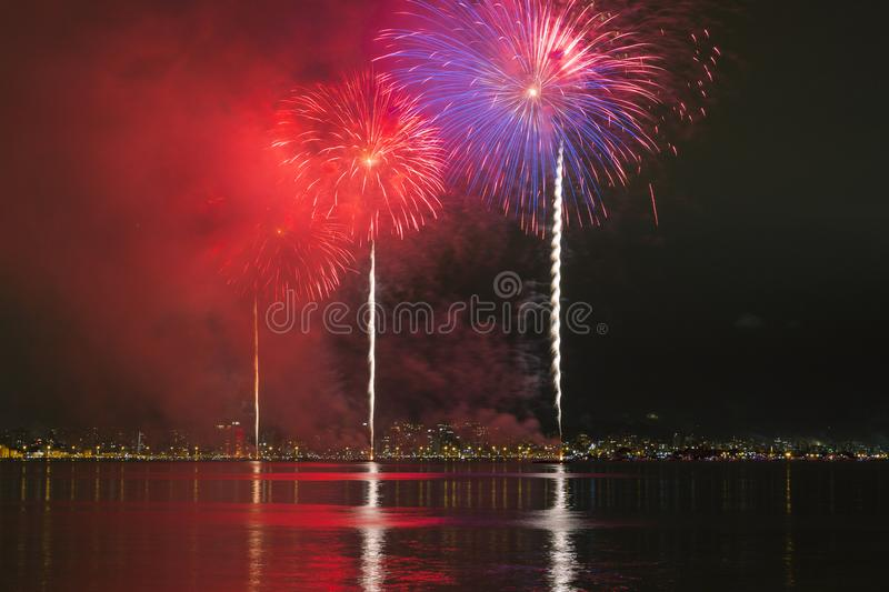 Fireworks in Florianopolis. Fireworks in celebration new years in Florianopolis Santa Catarina royalty free stock photo