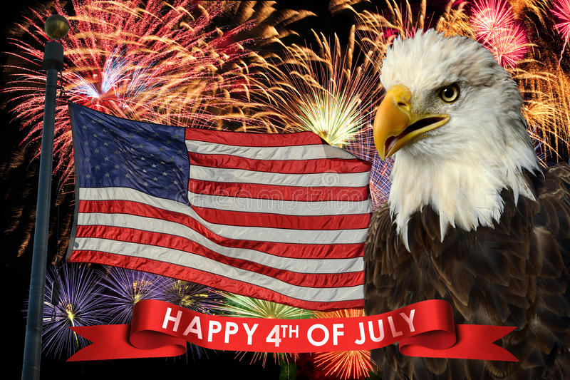 Fireworks on Fourth of July. Fireworks display during fourth of July with American flag and bald eagle