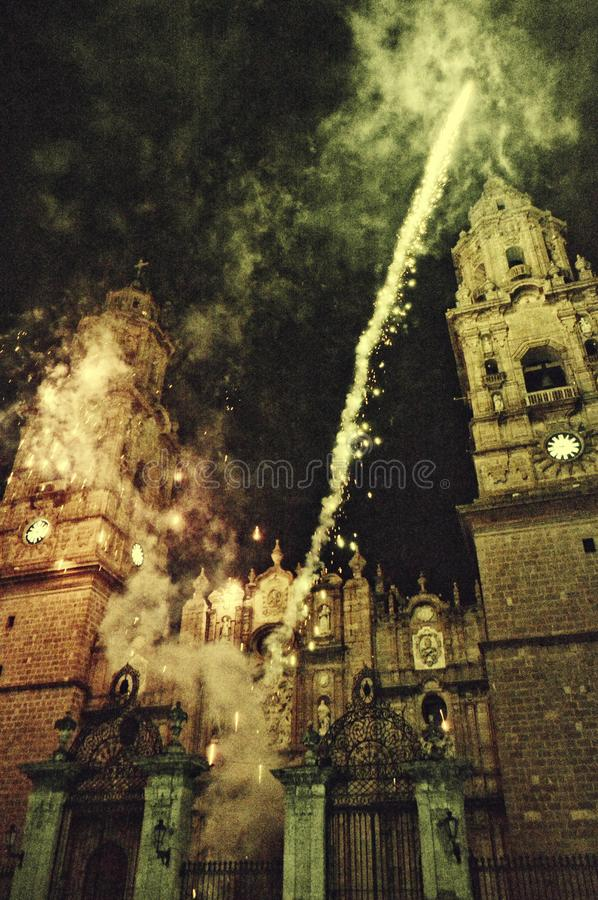Fireworks In Front Of A Cathedral stock photos