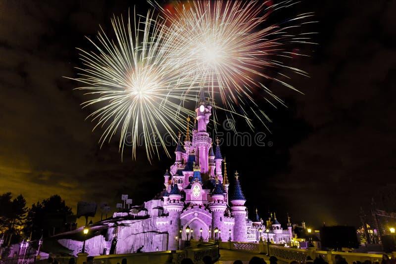 Firework at Paris Princess`s Castle royalty free stock image