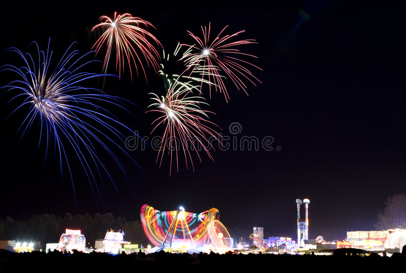 Download Fireworks at the fun fair stock image. Image of night - 3608803