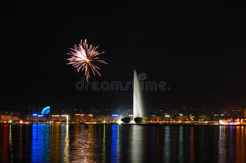 Download Fireworks With Geneva Fountain Stock Photo - Image of vacation, tourism: 11756666