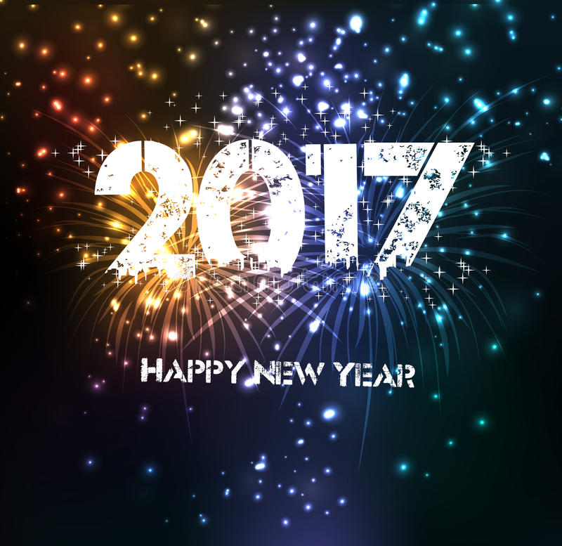 Fireworks for happy new year 2017 royalty free stock image