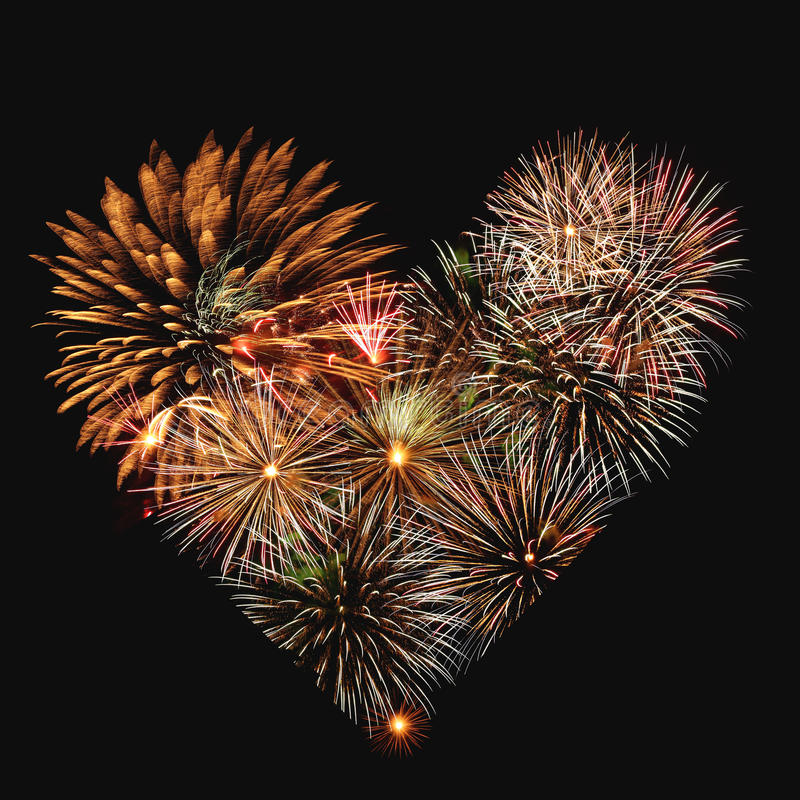 Fireworks heart stock photography