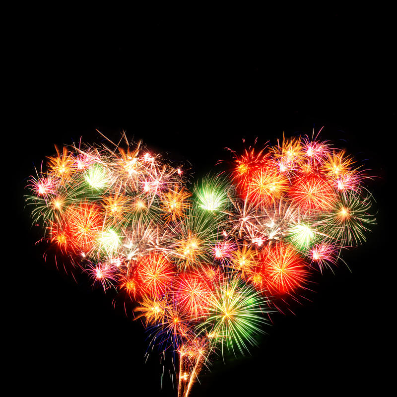 Fireworks heart stock photo
