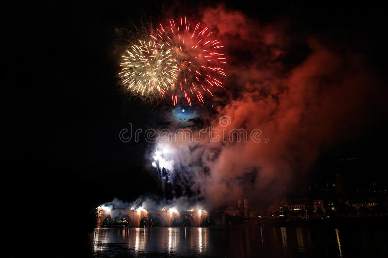 Fireworks in Heidelberg, Germany stock photo