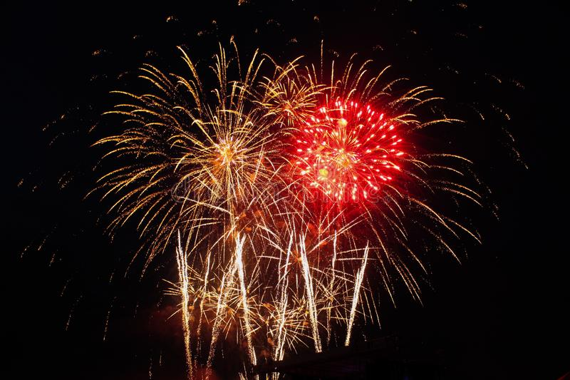 Fireworks at New Year and Christmas celebration. Fireworks at the holiday stock photos