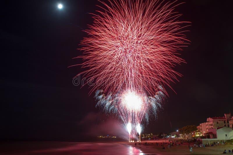 Fireworks. Holiday fireworks at marine coast royalty free stock photography