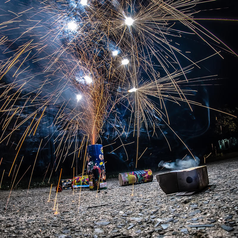 Fireworks at home in a driveway stock photo