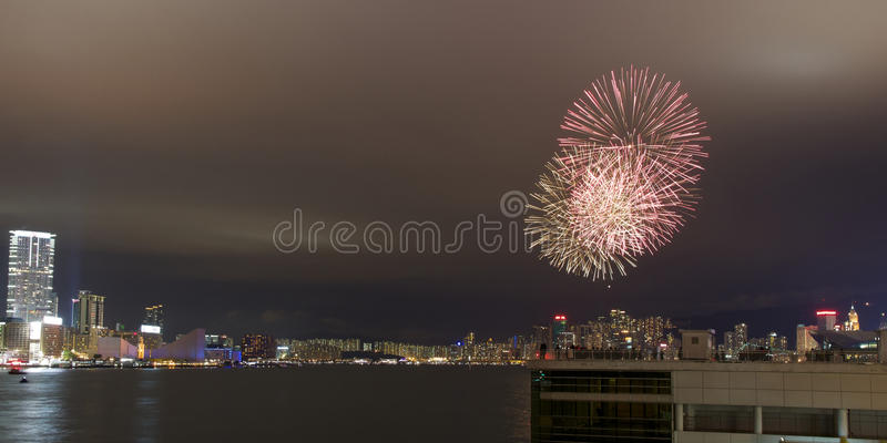 Fireworks In Hong Kong For Chinese New Year (2012) Editorial Stock Photo