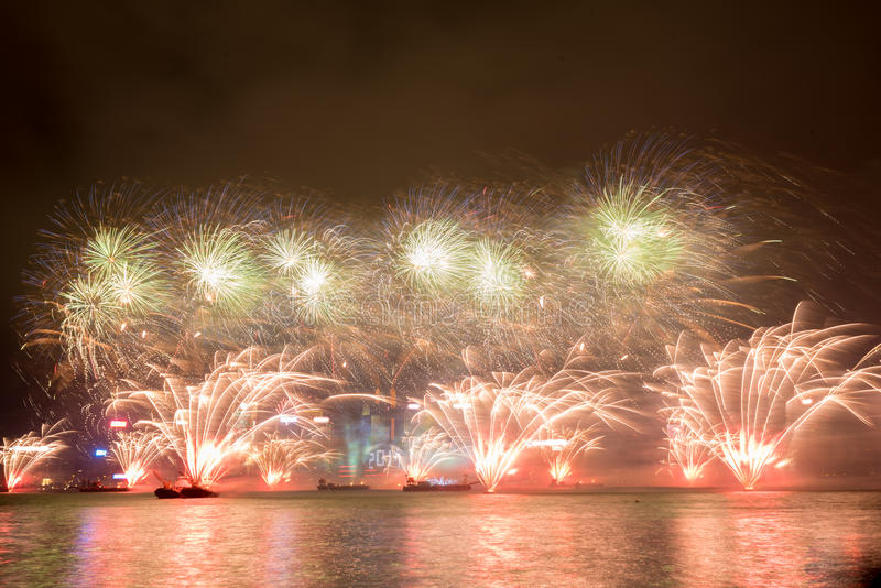 Fireworks in Hong Kong New Year celebration 2017 at Victoria Harbor stock image