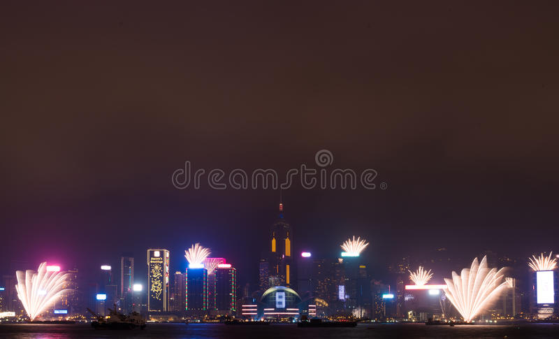 Fireworks in Hong Kong New Year celebration 2017 at Victoria Harbour at night stock photos