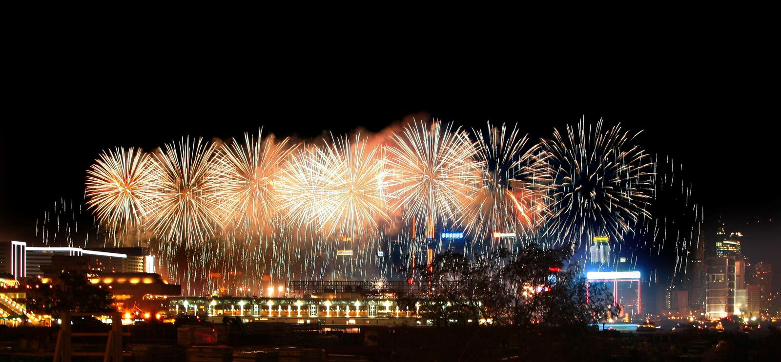 Fireworks in Hong Kong Victoria Harbor. Chinese New Year fireworks in Hong Kong Victoria Harbor stock photography