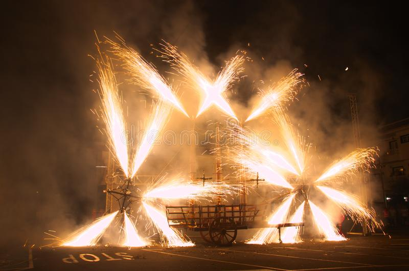 Fireworks in Honor of the Virgin of Los Remedios de Tegueste royalty free stock photos