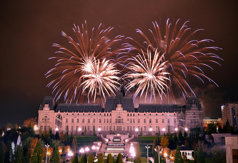 Fireworks in Iasi. My city called Iasi just in time for fireworks royalty free stock photos
