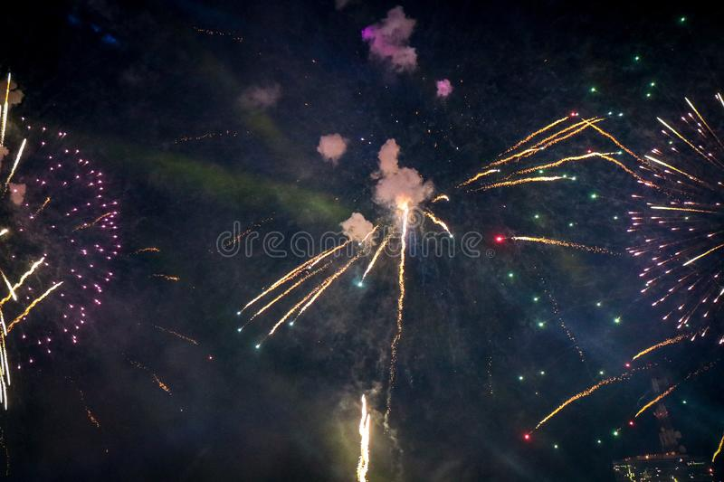 Beautiful new year firework from Thailand stock photo