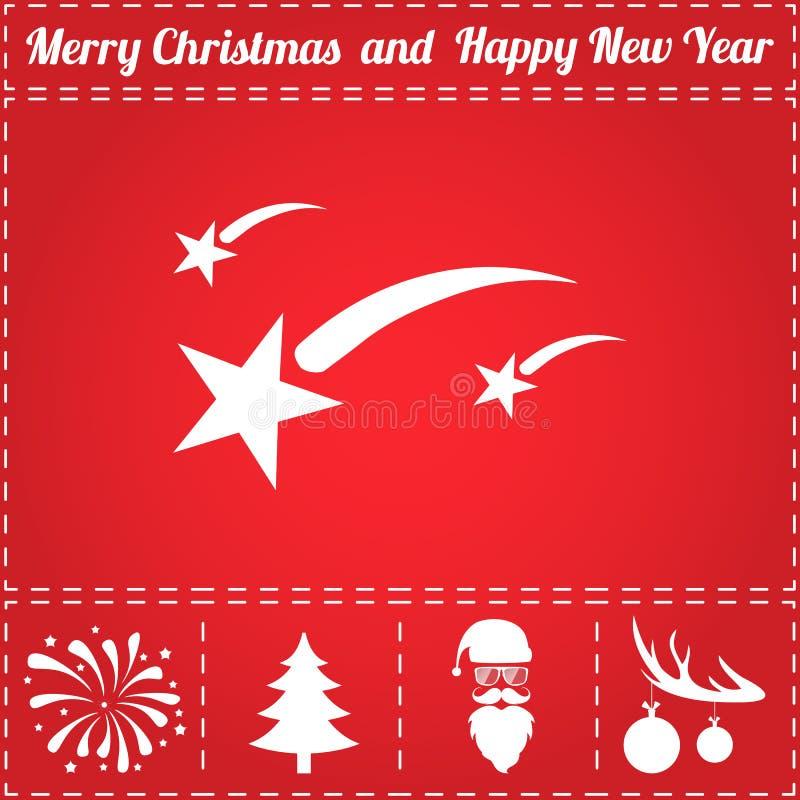Fireworks Icon Vector. And bonus symbol for New Year - Santa Claus, Christmas Tree, Firework, Balls on deer antlers stock illustration