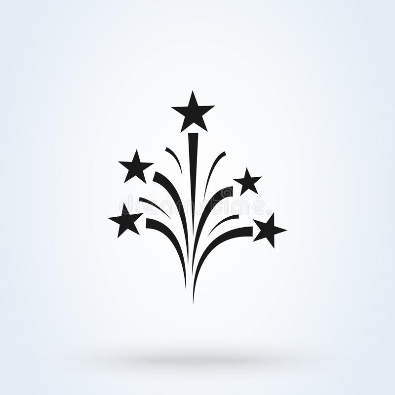 Fireworks icon vector, flat style. background isolated on white royalty free illustration