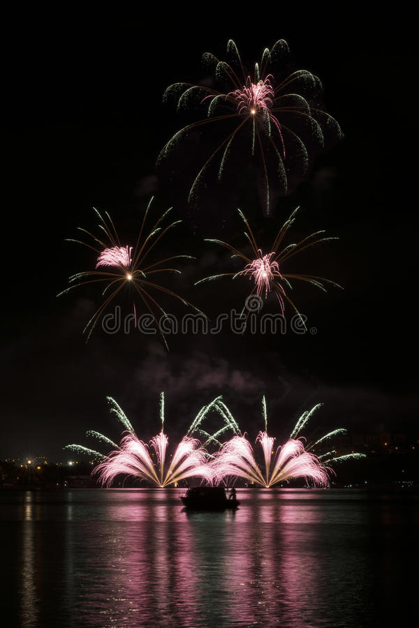 Fireworks Ignis Brunensis - Nanos Fireworks royalty free stock photos