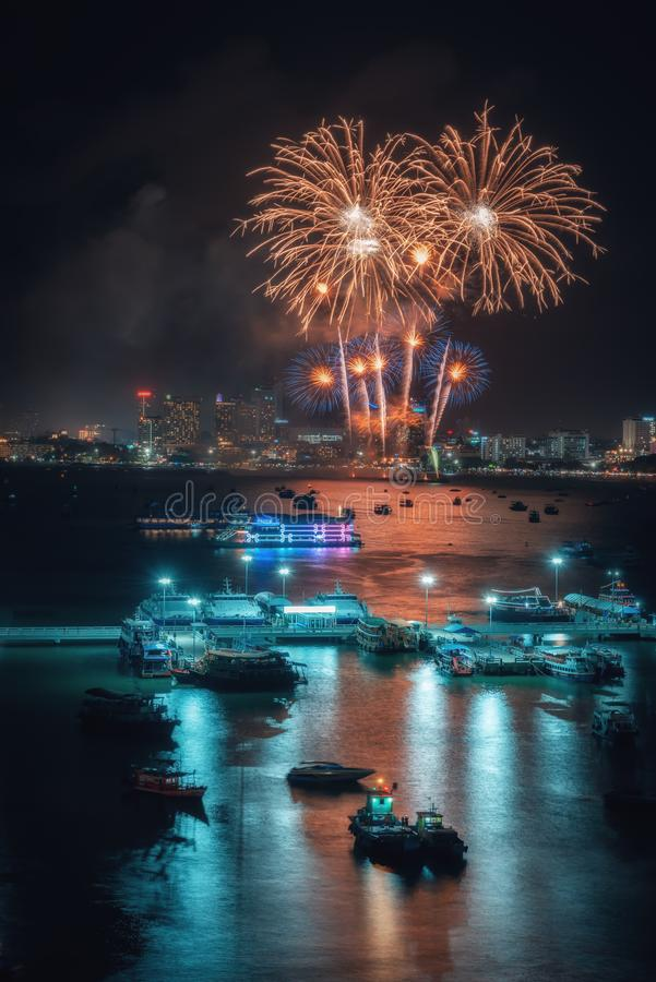 Fireworks international colorful Pattaya beach cityscape at night scene for advertise traveling event holiday. Pattaya city stock photos