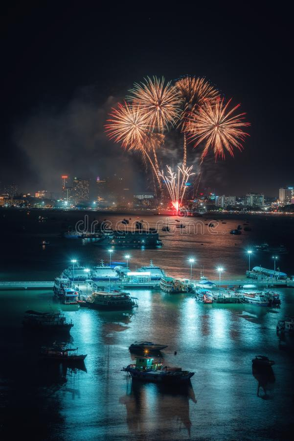Fireworks international colorful Pattaya beach cityscape at night scene for advertise traveling event holiday., Pattaya city. Fireworks international colorful stock photos