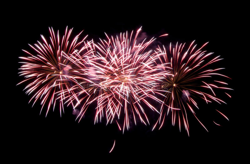 Fireworks isolated on black background stock images