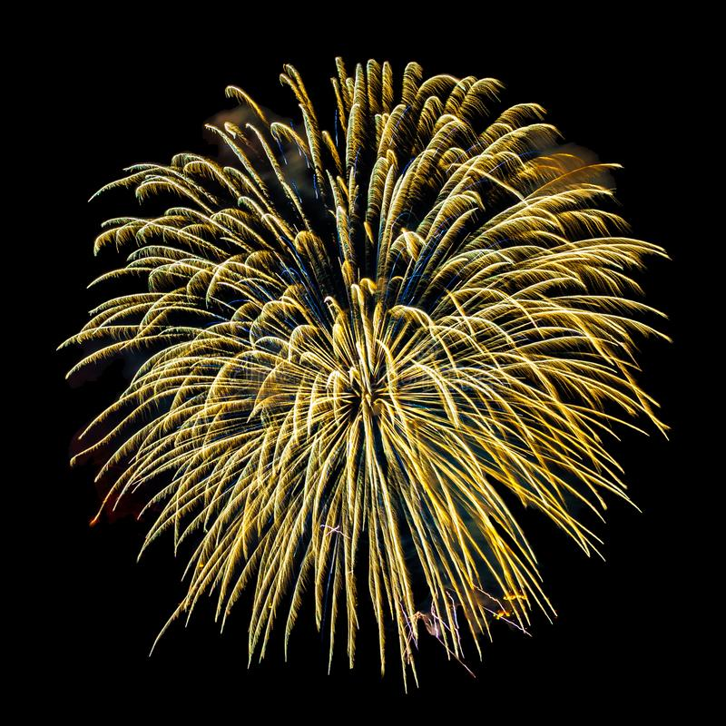 Fireworks isolated on a black sky background. Golden fireworks isolated on a black sky background stock image