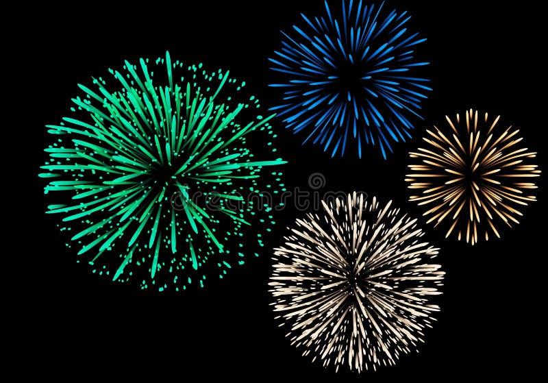Fireworks isolated on dark background . Illustration design stock photo